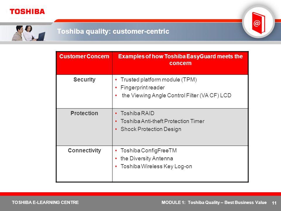 Toshiba quality: customer-centric