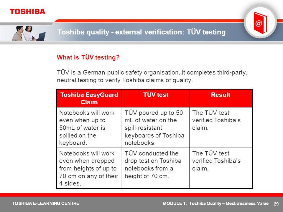 Toshiba quality - external verification: TÜV testing
