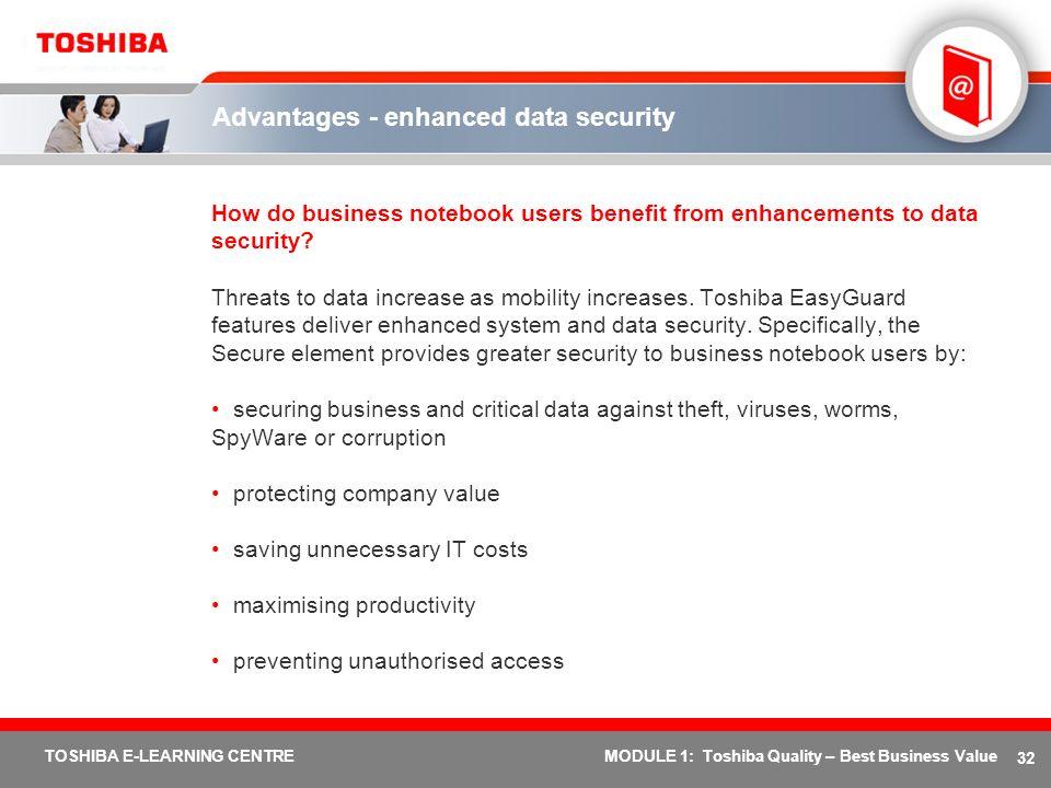 Advantages - enhanced data security