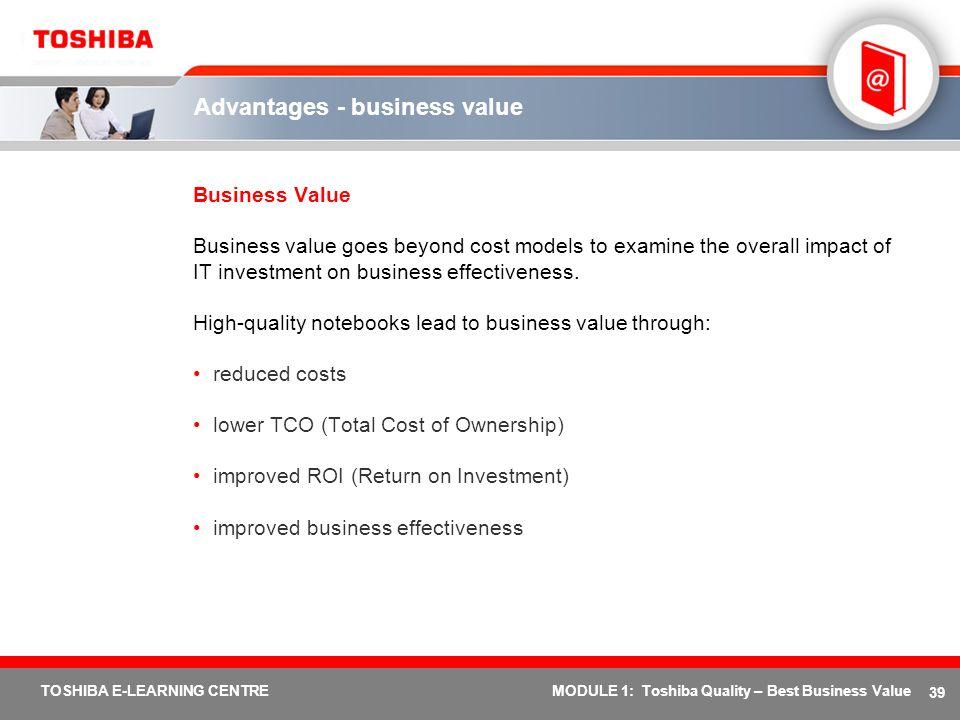 Advantages - business value