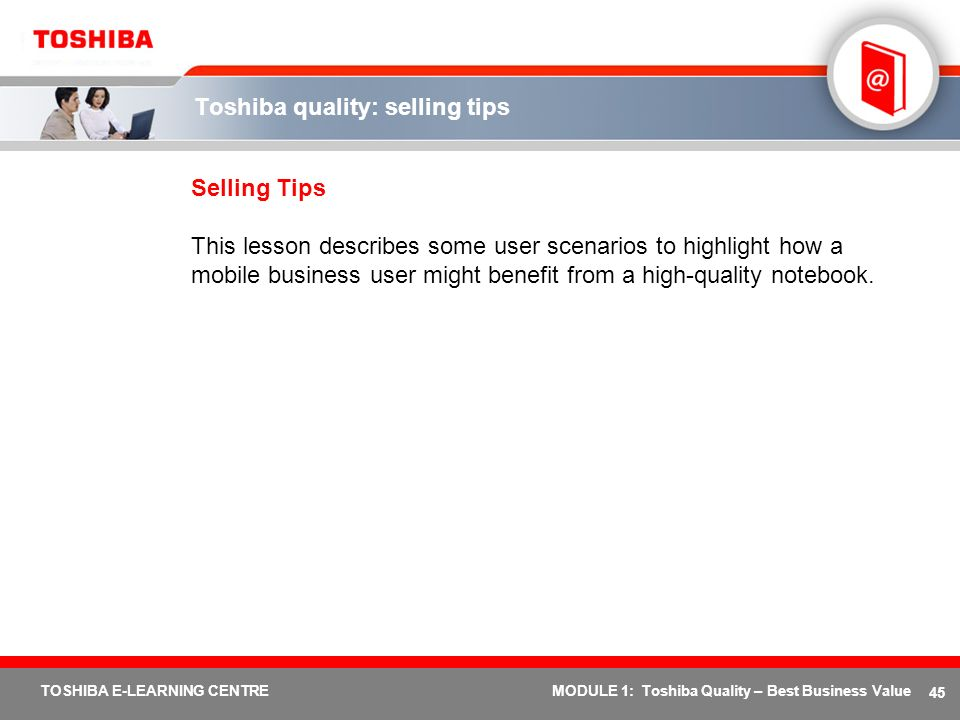 Toshiba quality: selling tips