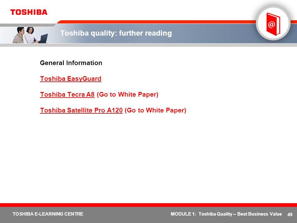 Toshiba quality: further reading