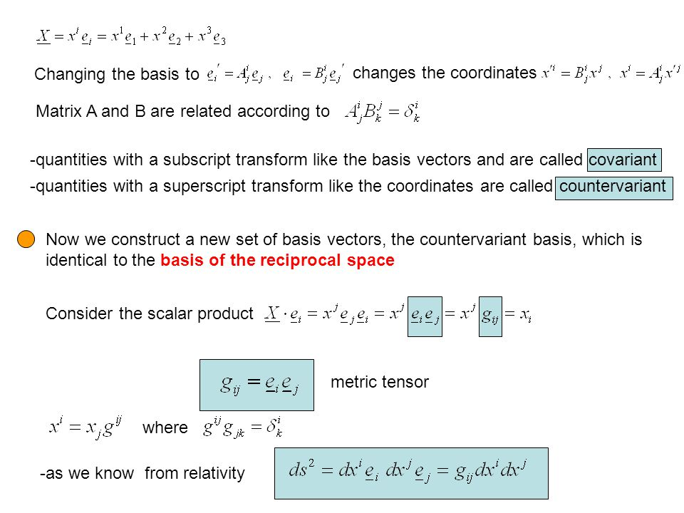 Changing the basis to changes the coordinates. Matrix A and B are related according to.