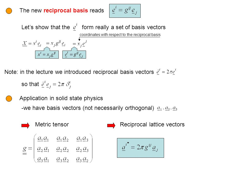The new reciprocal basis reads