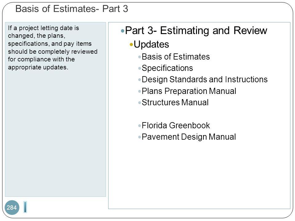 Basis of Estimates- Part 3