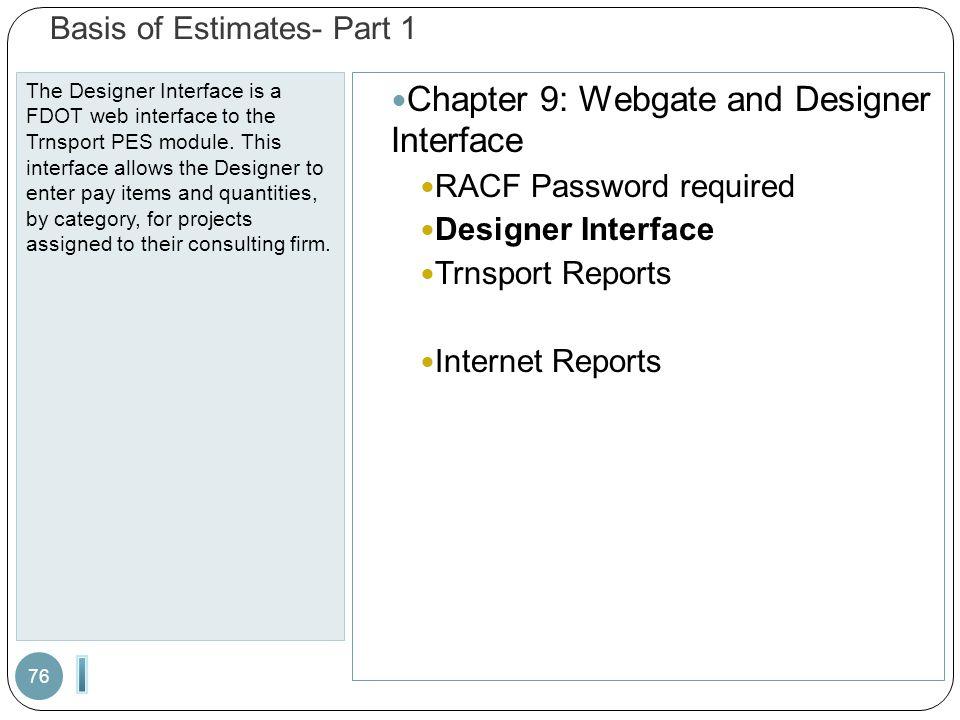 Basis of Estimates- Part 1