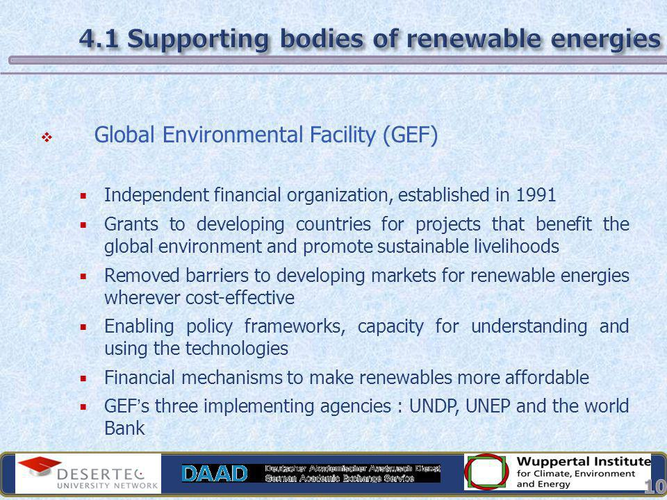 4.1 Supporting bodies of renewable energies