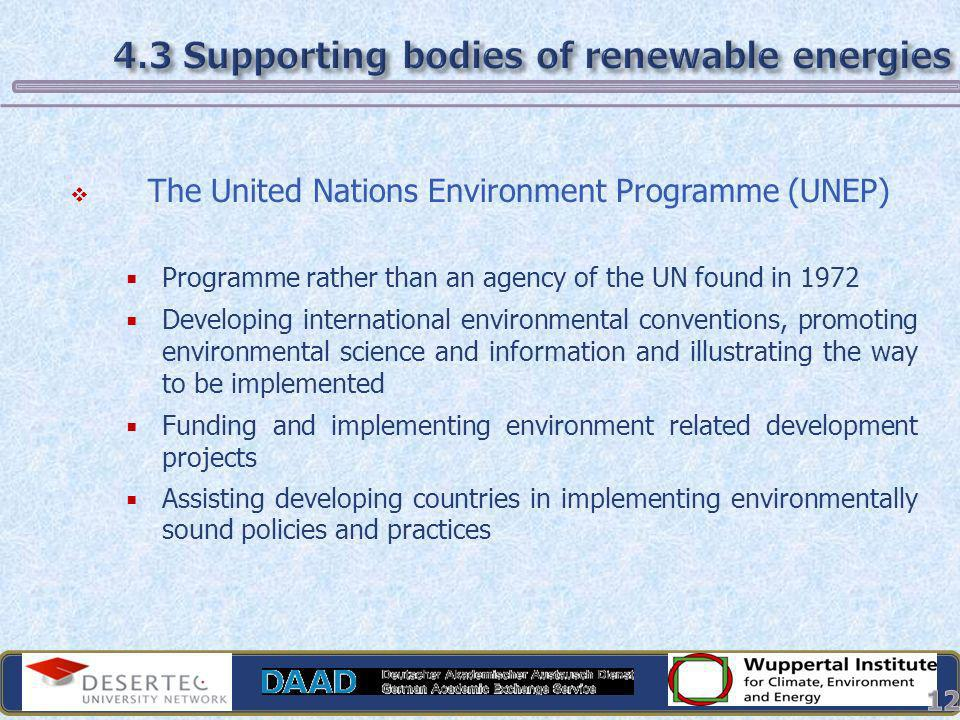 4.3 Supporting bodies of renewable energies