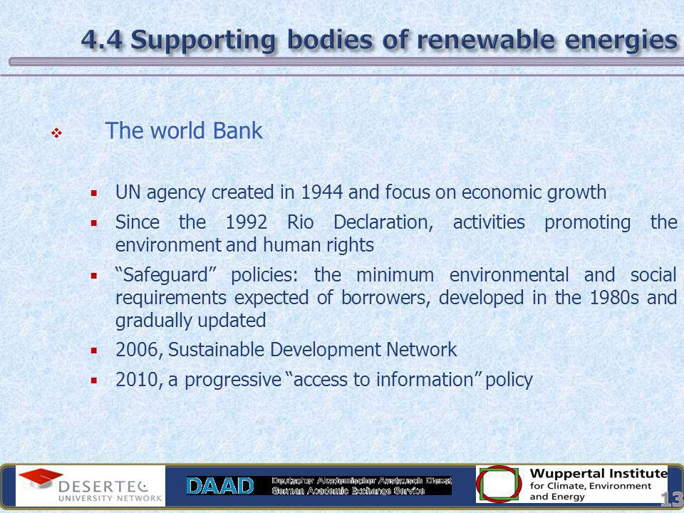 4.4 Supporting bodies of renewable energies