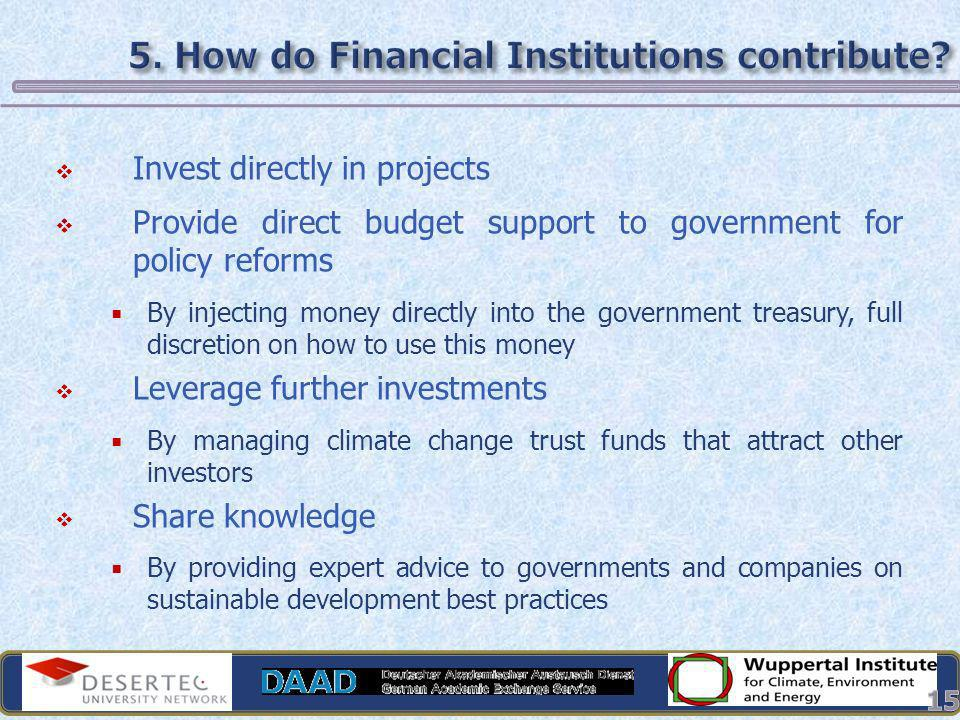 5. How do Financial Institutions contribute