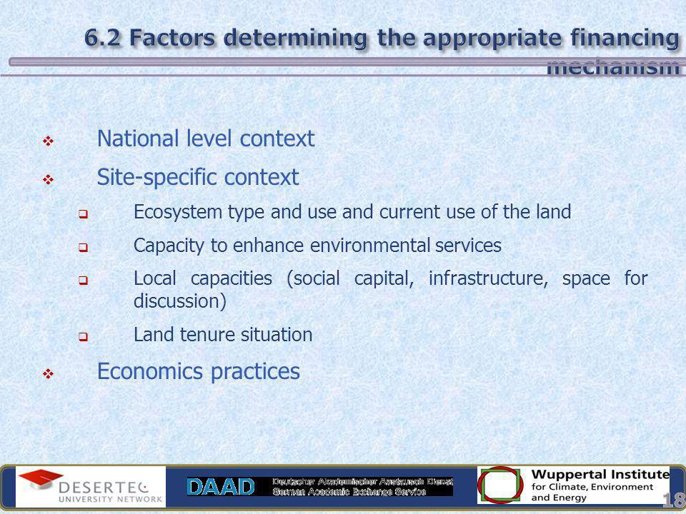 6.2 Factors determining the appropriate financing mechanism