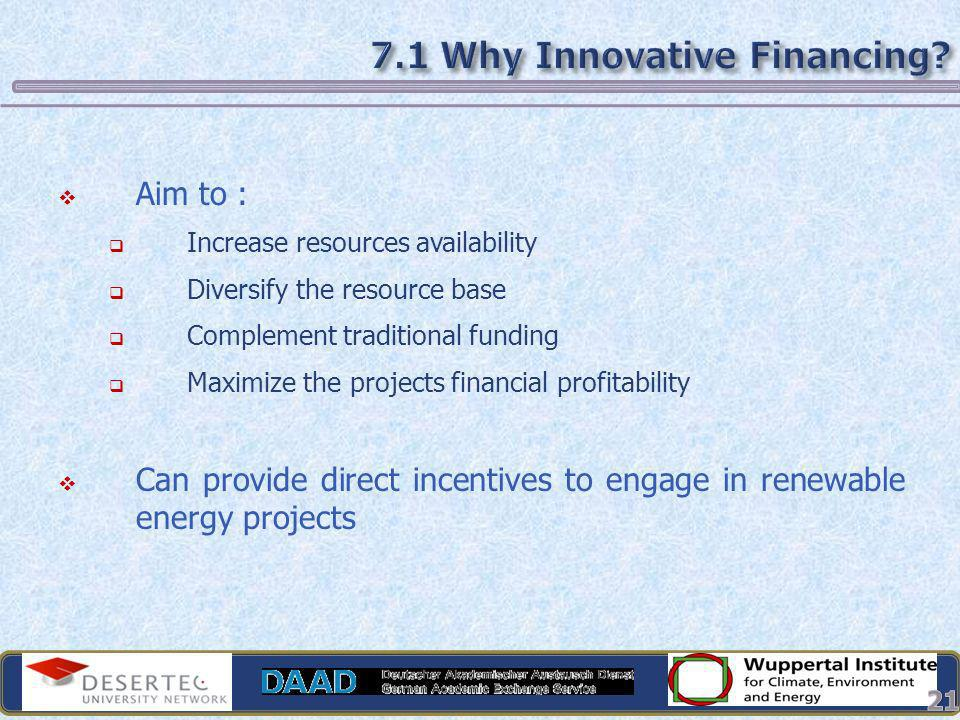 7.1 Why Innovative Financing