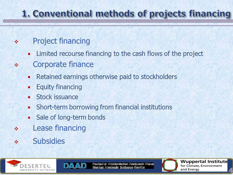 1. Conventional methods of projects financing
