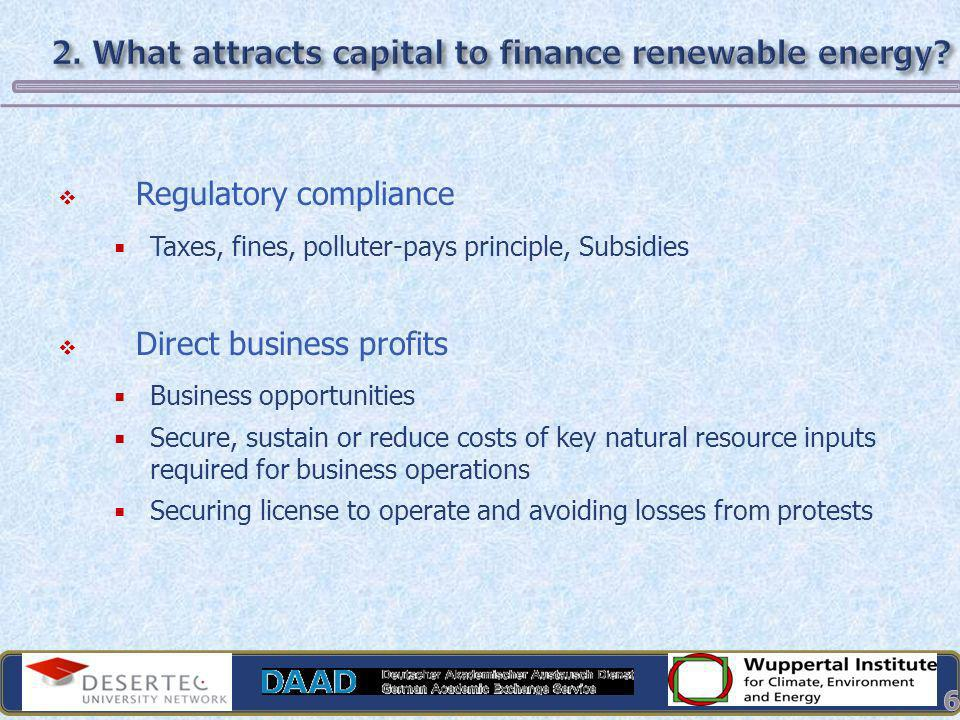 2. What attracts capital to finance renewable energy