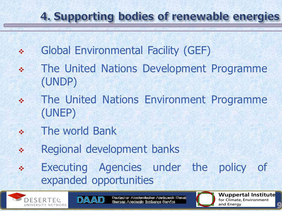 4. Supporting bodies of renewable energies