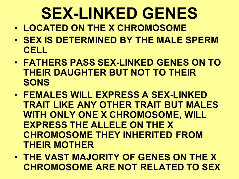 SEX-LINKED GENES LOCATED ON THE X CHROMOSOME