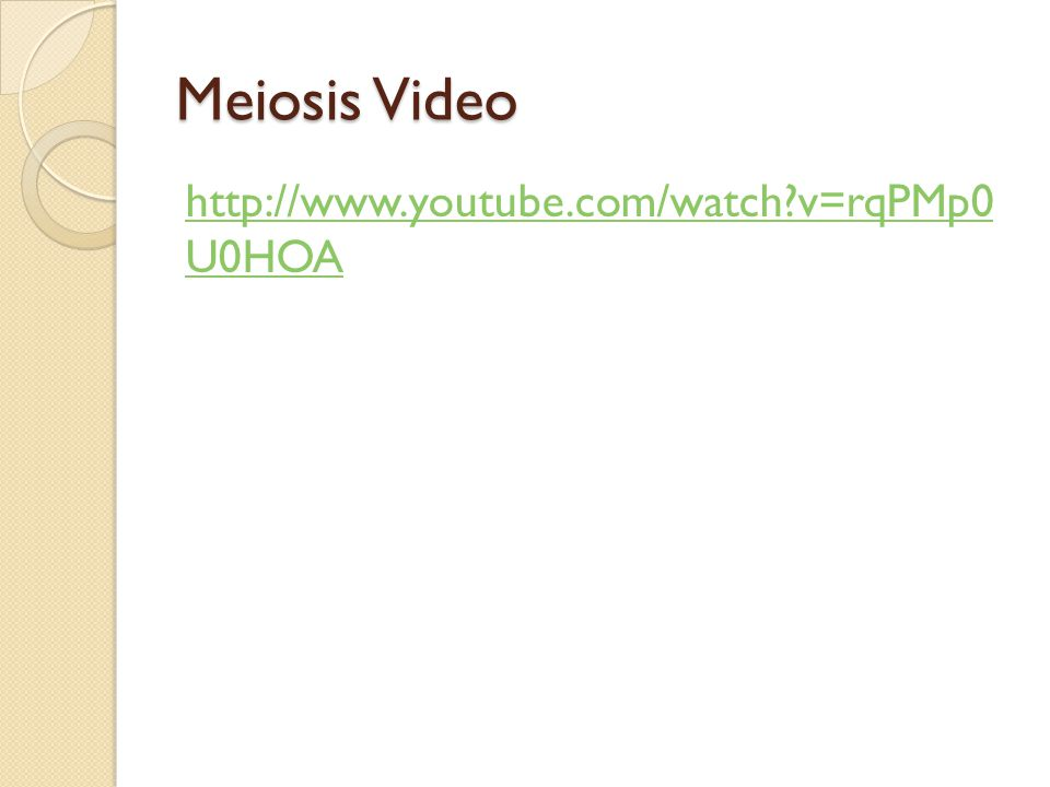 Meiosis Video http://www.youtube.com/watch v=rqPMp0 U0HOA