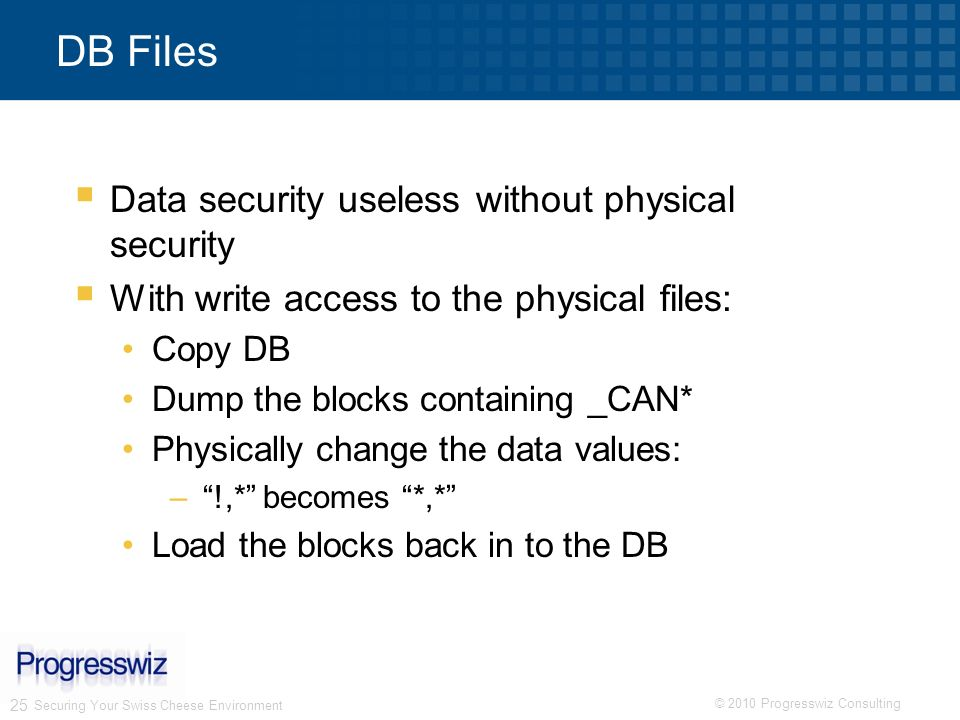 DB Files Data security useless without physical security