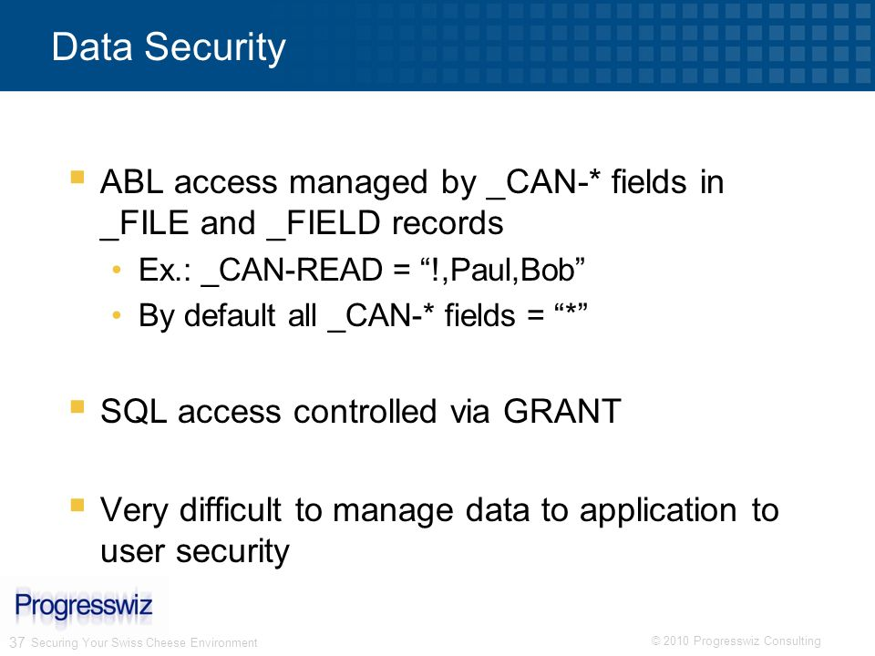 Data Security ABL access managed by _CAN-* fields in _FILE and _FIELD records. Ex.: _CAN-READ = !,Paul,Bob