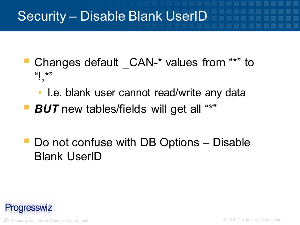 Security – Disable Blank UserID