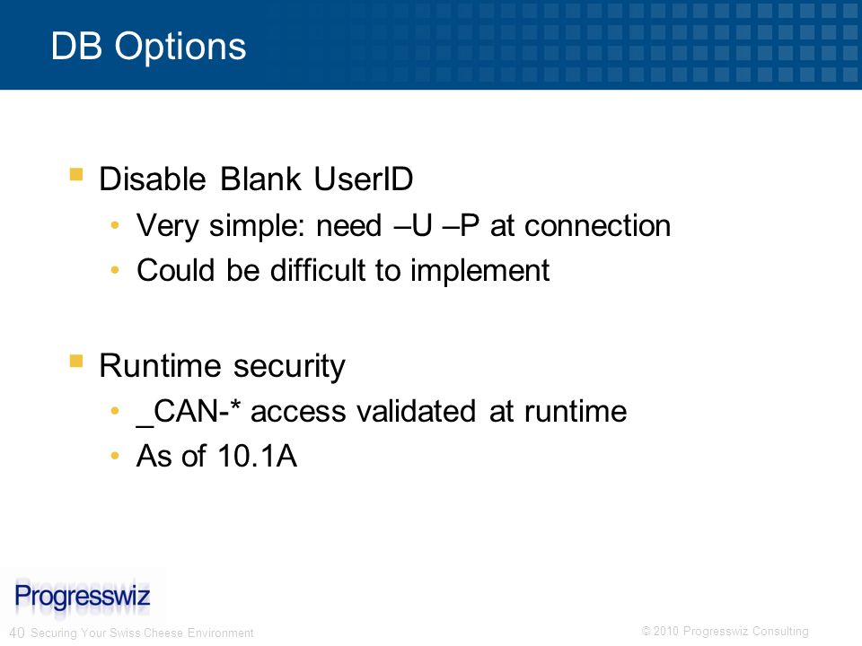 DB Options Disable Blank UserID Runtime security