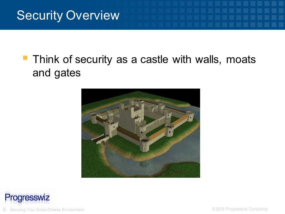 Security Overview Think of security as a castle with walls, moats and gates.