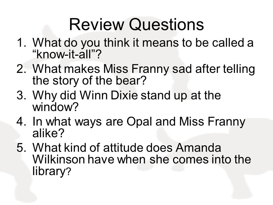 Review Questions What do you think it means to be called a know-it-all What makes Miss Franny sad after telling the story of the bear