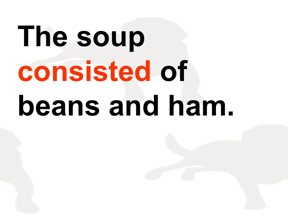 The soup consisted of beans and ham.