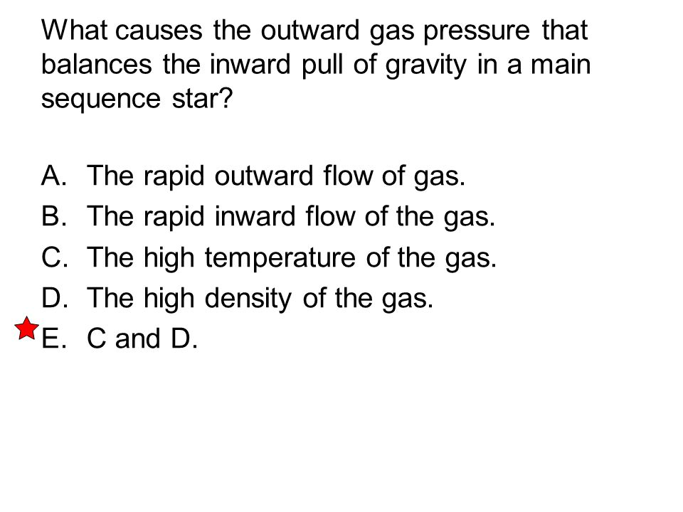 What causes the outward gas pressure that balances the inward pull of gravity in a main sequence star