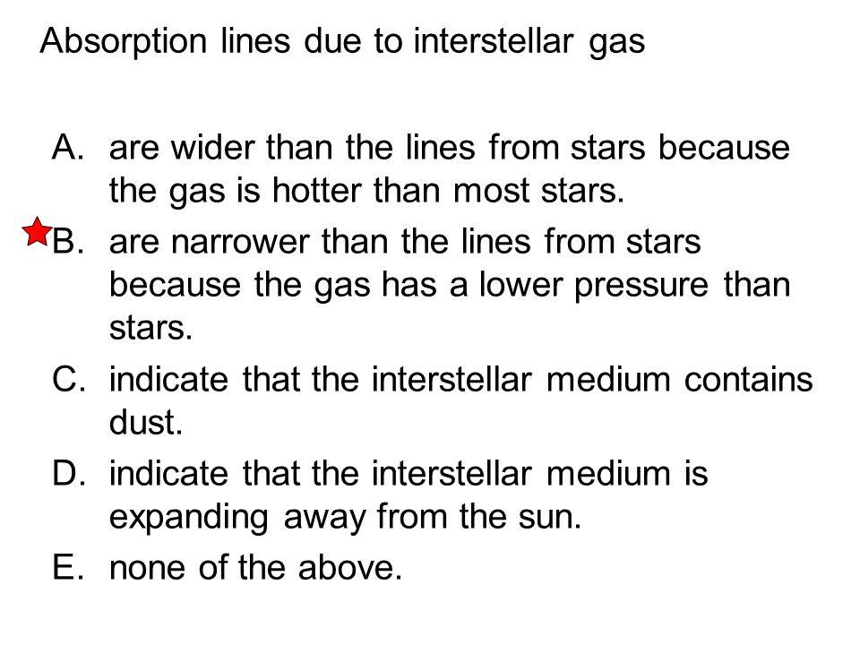 Absorption lines due to interstellar gas
