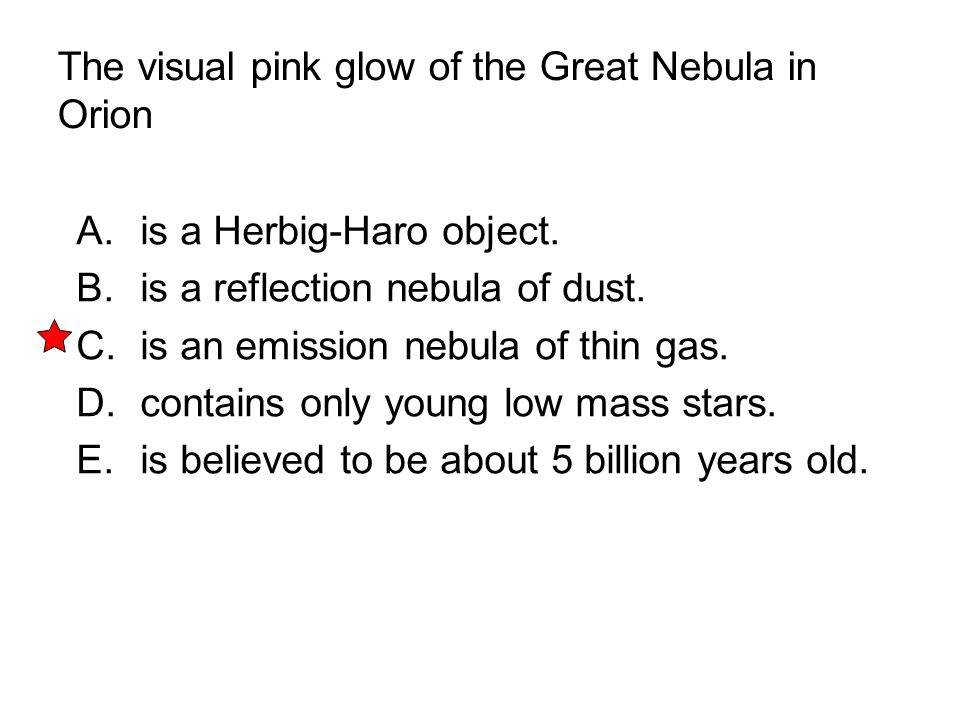 The visual pink glow of the Great Nebula in Orion