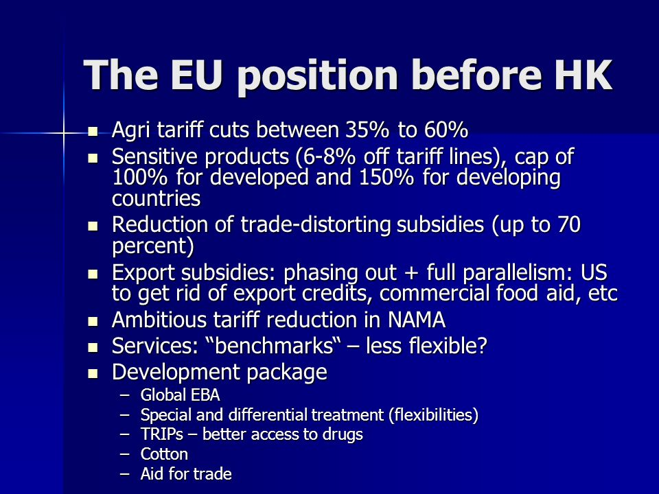 The EU position before HK