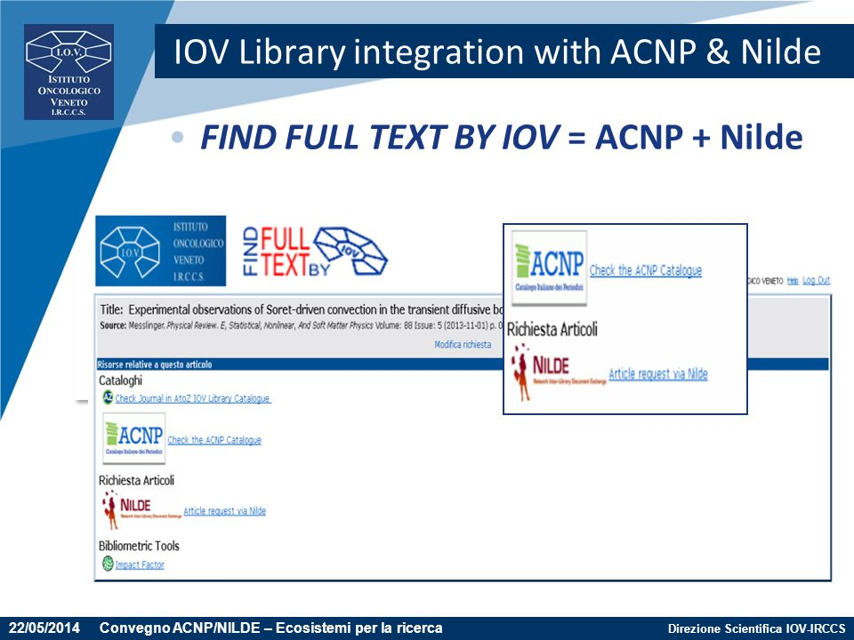 IOV Library integration with ACNP & Nilde