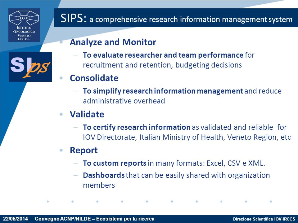 SIPS: a comprehensive research information management system