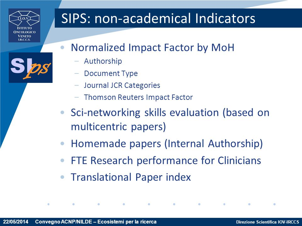 SIPS: non-academical Indicators
