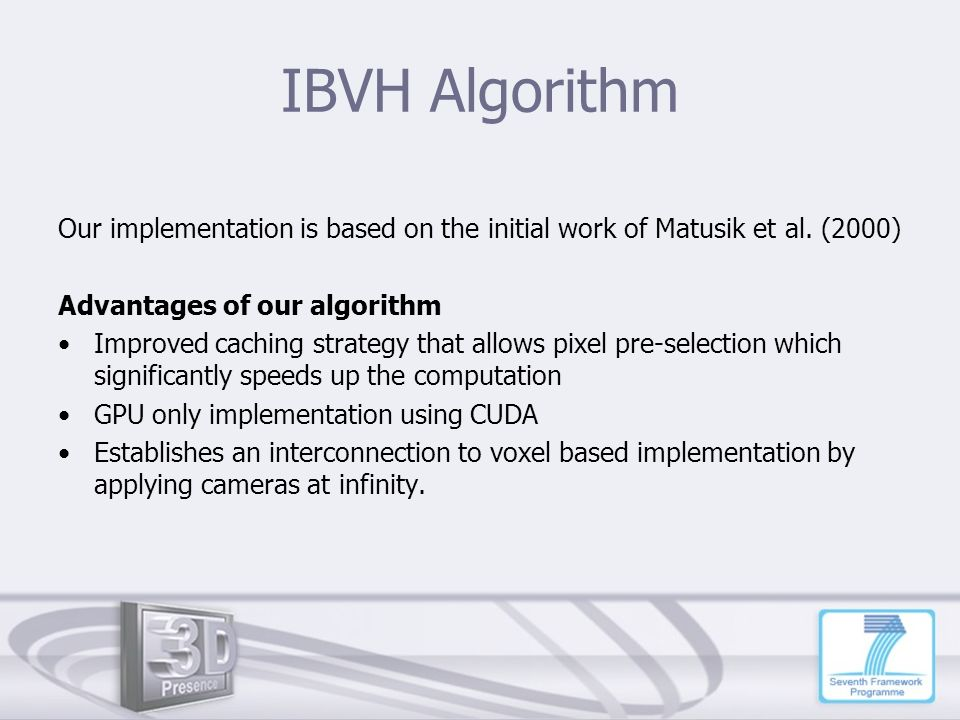 IBVH Algorithm Our implementation is based on the initial work of Matusik et al. (2000) Advantages of our algorithm.