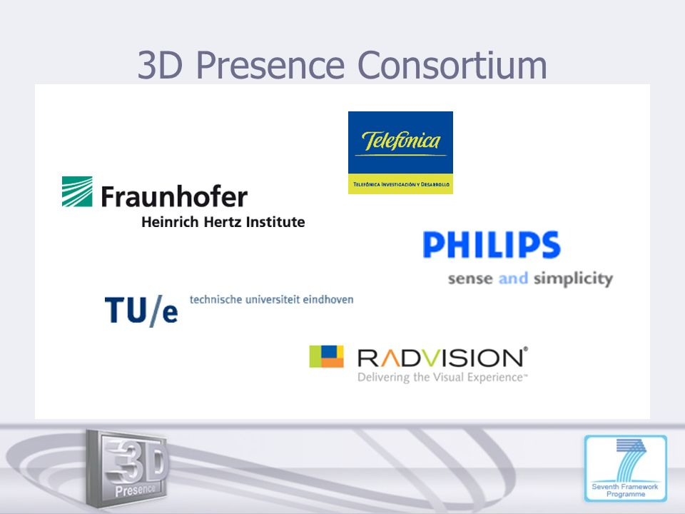 3D Presence Consortium Role of each project partner: Radvision: coding