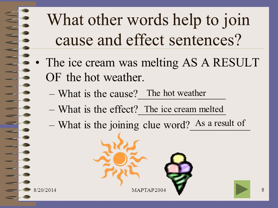 What other words help to join cause and effect sentences