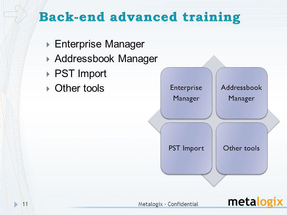 Back-end advanced training