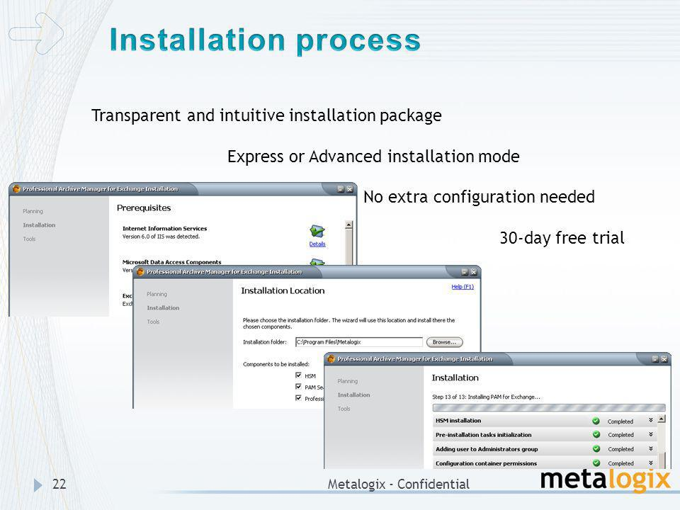 Installation process Transparent and intuitive installation package