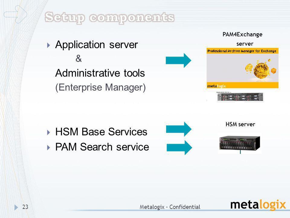 Setup components Application server Administrative tools