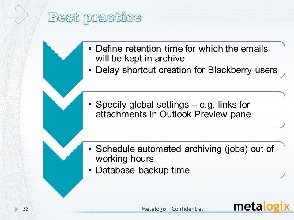 Best practice Metalogix - Confidential