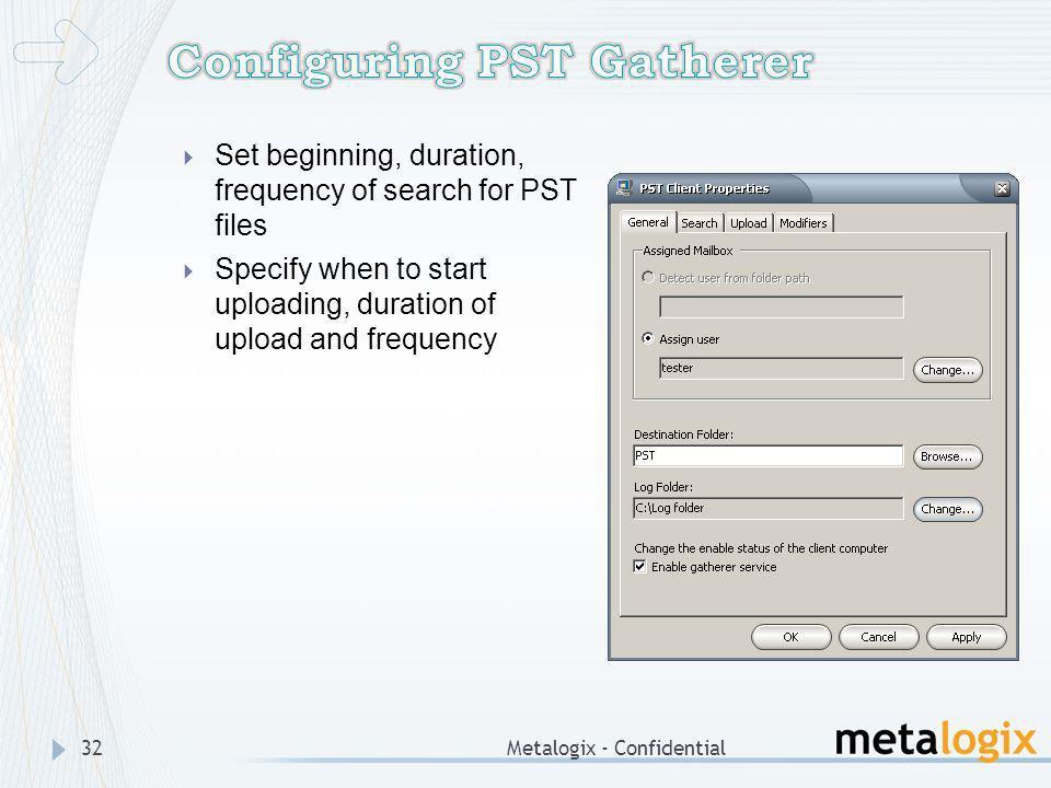 Configuring PST Gatherer