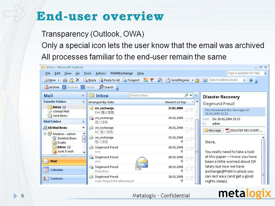 End-user overview Transparency (Outlook, OWA)