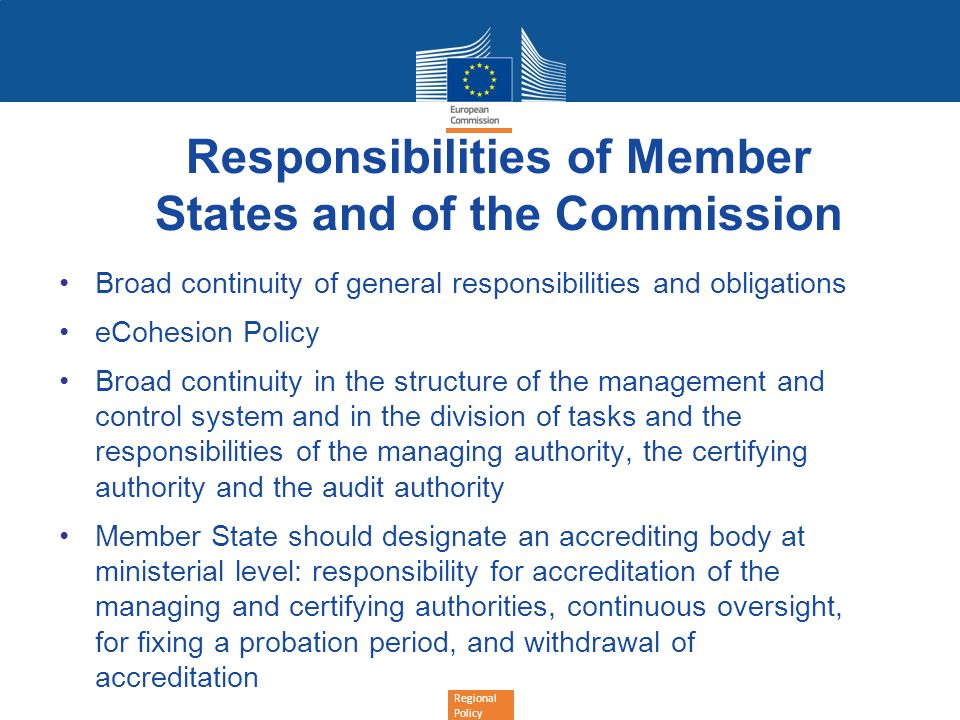 Responsibilities of Member States and of the Commission