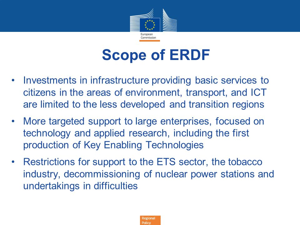 Scope of ERDF