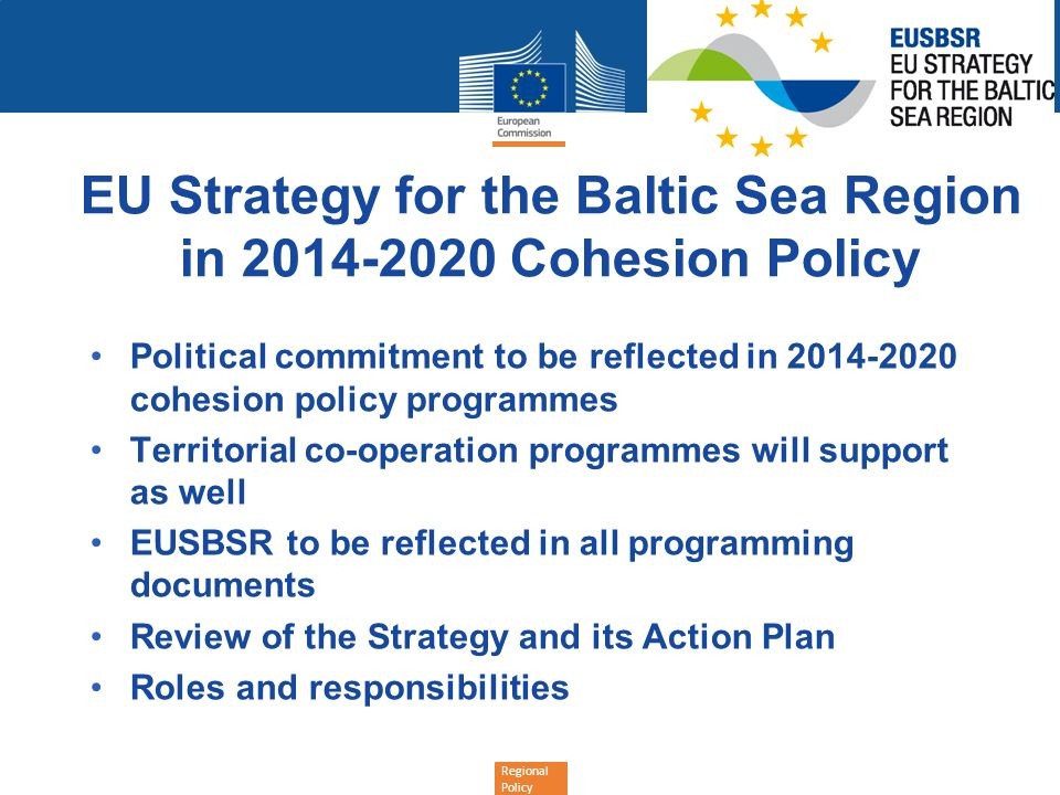 EU Strategy for the Baltic Sea Region in 2014-2020 Cohesion Policy