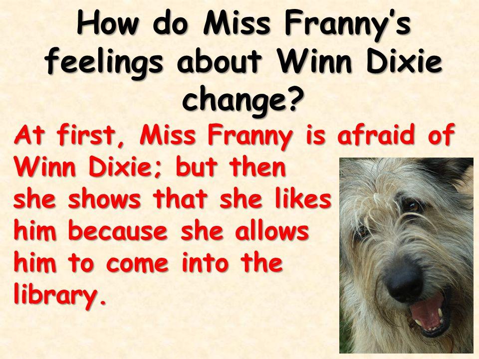 How do Miss Franny's feelings about Winn Dixie change