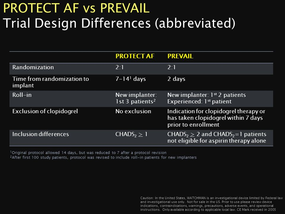 PROTECT AF vs PREVAIL Trial Design Differences (abbreviated)