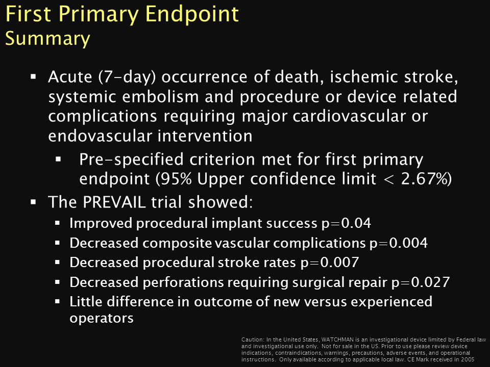 First Primary Endpoint Summary